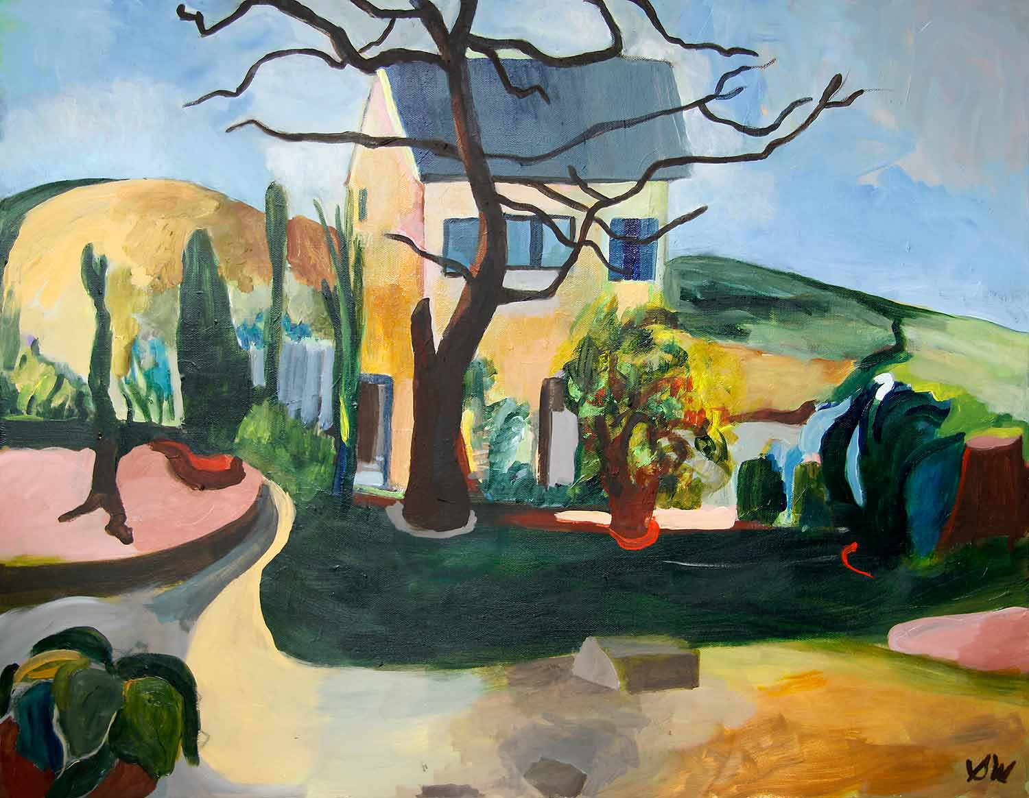 A Tree and a House, After Cézanne, Acrylic